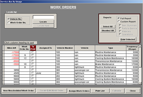 Service Due By Usage Lists Maintenance Column Counting Down The Until Next Event A Manager Can Quickly And Easily