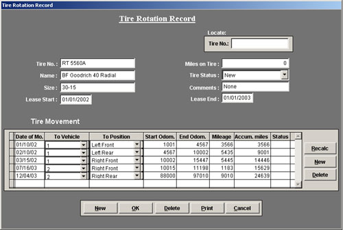 Vehicle Maintenance Software - Tire Tracking
